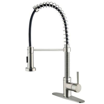 Edison Single-Handle Pull-Out Sprayer Kitchen Faucet with Deck Plate in