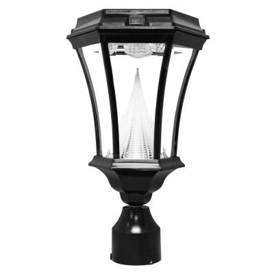 Gama Sonic Victorian Solar Outdoor Black Post Light with 3 in. Fitter Mount-DISCONTINUED