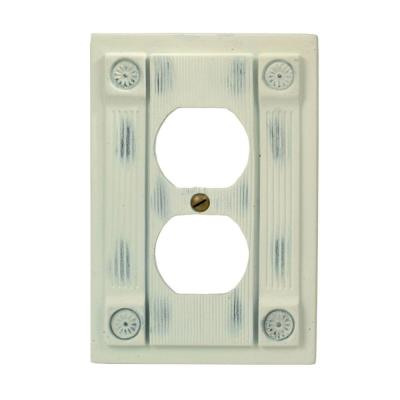 Rosette 1 Duplex Wall Plate - Antique White