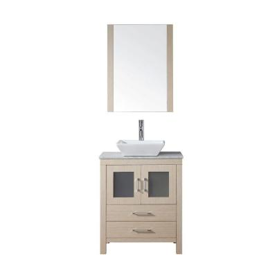 Virtu USA Dior 24 in. Double Vanity in Light Oak with Marble Vanity Top in White and Mirrors-DISCONTINUED