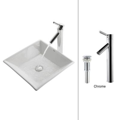 Flat Square Ceramic Vessel Sink in White with Sheven Faucet in