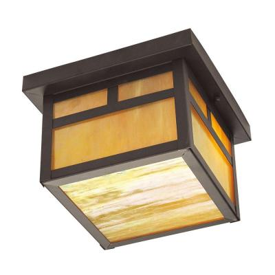 Livex Lighting Providence Collection 2-Light 6.5 in. Bronze Outdoor Iridescent Tiffany Glass Flushmount