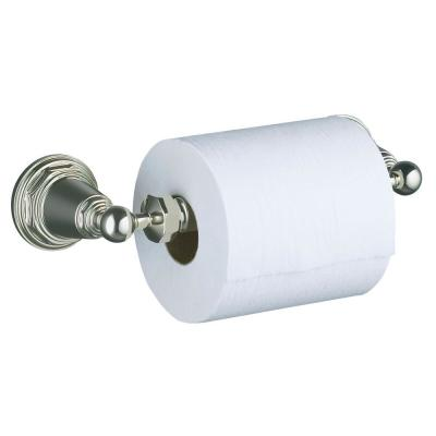 Pinstripe Wall-Mount Double Post Toilet Paper Holder in Vibrant Polished Nickel