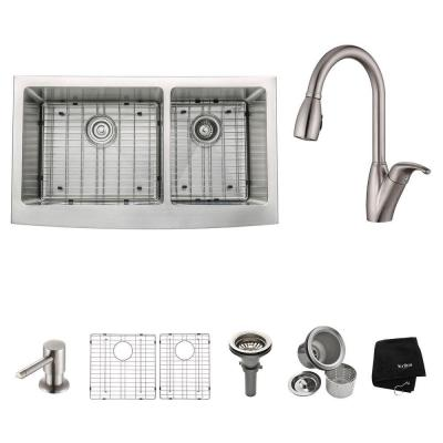 KRAUS All-in-One Farmhouse Apron Front Stainless Steel 35.9 in. Double Bowl Kitchen Sink with Kitchen Faucet