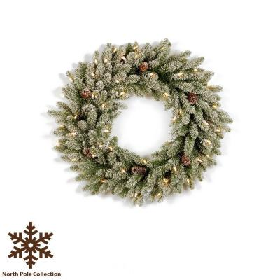 36 in. Pre-Lit Snowy Fir Artificial Christmas Wreath with Pinecones and