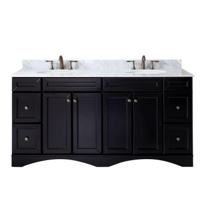 Virtu USA Talisa 71.7 in. W x 22 in. D Vanity in Espresso with Marble Vanity Top in White with White Basin