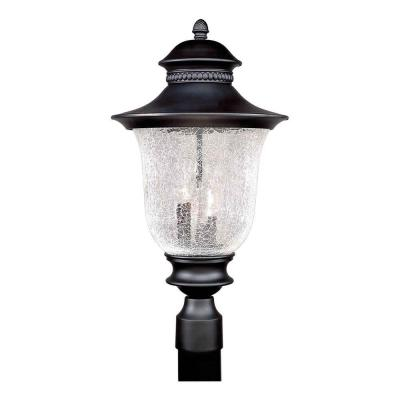 Talista 3-Light Outdoor Black Post Light with Clear Crackle Glass Shade