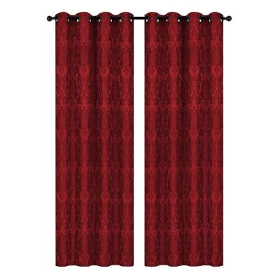 Veronica Jacquard Burgundy Grommet Extra Wide Curtain Panel, 54 in. W x 84 in. L Product Photo