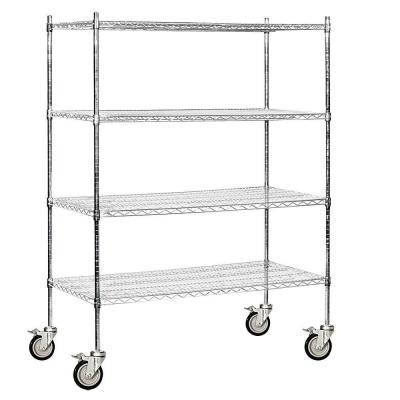 Salsbury Industries 9600M Series 60 in. W x 80 in. H x 24 in. D Industrial Grade Welded Wire Mobile Wire Shelving in Chrome