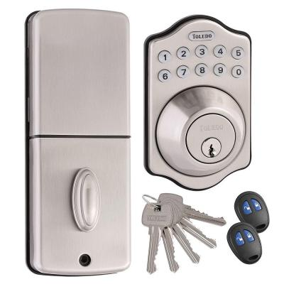 toledo fine locks electronic deadbolt in satin stainless steel with remote control cv180e us15. Black Bedroom Furniture Sets. Home Design Ideas