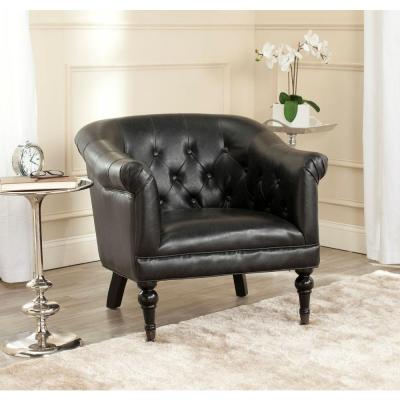 Nicolas Leather Club Chair in Antique Black