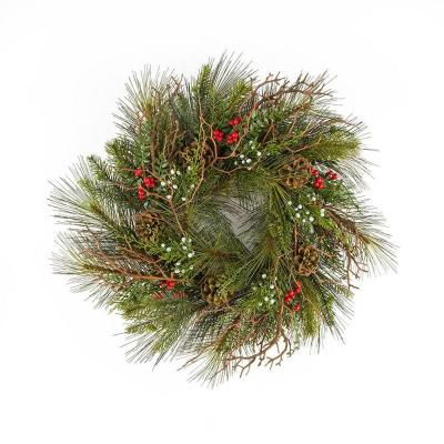 24 in. Sugar Pine Mixed Pine Artificial Wreath