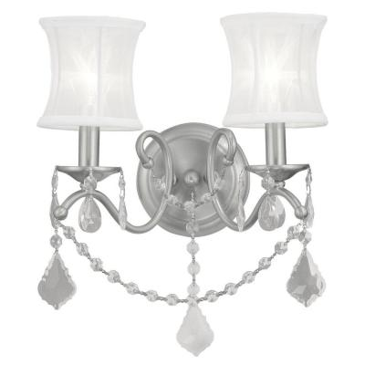 2-Light Brushed Nickel Sconce with Off-White Silk Shimmer Shade