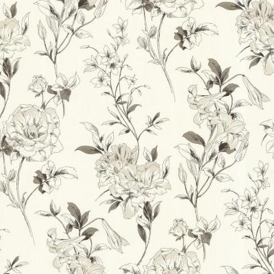 56 sq. ft. Jolie Off-White Floral Toss Wallpaper