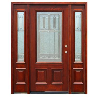 70 in. x 80 in. Diablo Traditional 3/4 Lite Stained Mahogany Wood Prehung Front Door with 14 in. Sidelites Product Photo