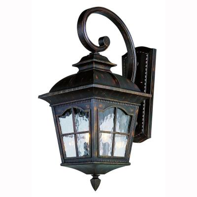 Bel Air Lighting Bostonian 2-Light Outdoor Antique Rust Coach Lantern with Water Glass