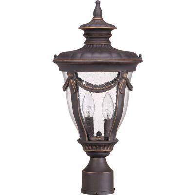 Glomar 2-Light Outdoor Belgium Bronze Mid-Size Post Lantern with Seeded Glass