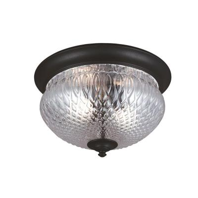 Sea Gull Lighting Garfield Park 2-Light Outdoor Black Fluorescent Ceiling Flush Mount with Clear Glass