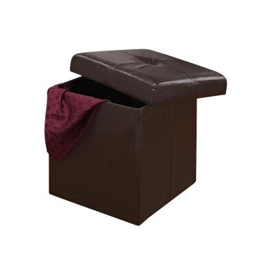 Home Decorators Collection Folding Chocolate 15 in. W Storage Ottoman-DISCONTINUED