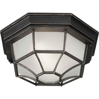 Talista 1-Light Outdoor Bordeaux Flush Mount with Satin White Glass
