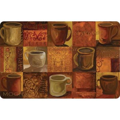 Apache Mills Coffee Collage Cushion Comfort 18 in. x 30 in. Foam Mat-DISCONTINUED