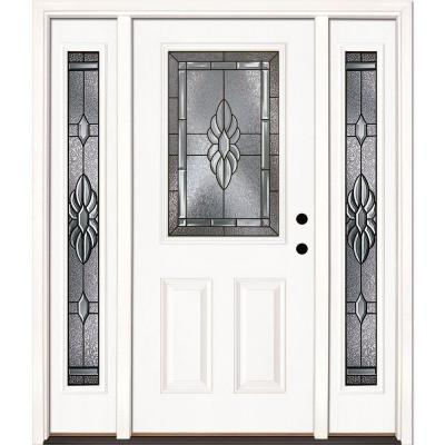 Feather River Doors 63.5 in. x 81.625 in. Sapphire Patina 1/2 Lite Unfinished Smooth Fiberglass Prehung Front Door with Sidelites