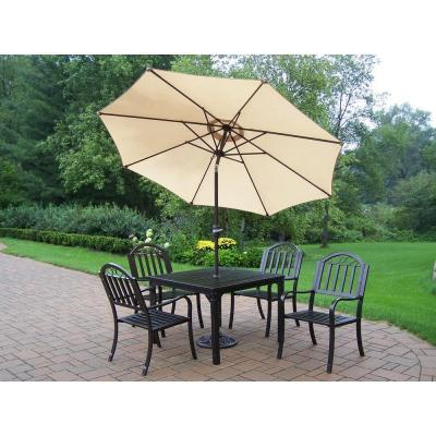 Oakland Living Rochester 40 in. x 40 in. 5-Piece Patio Dining Set with Tilting Umbrella and Stand