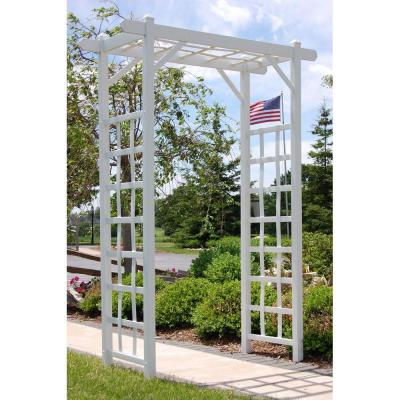 85 in. x 57 in. x 22 in. White Vinyl PVC Elmwood Arbor Product Photo