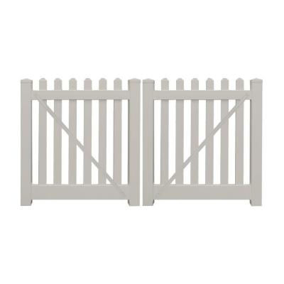 Spokane 8 ft. x 4 ft. Tan Vinyl Picket Double Fence Gate Product Photo