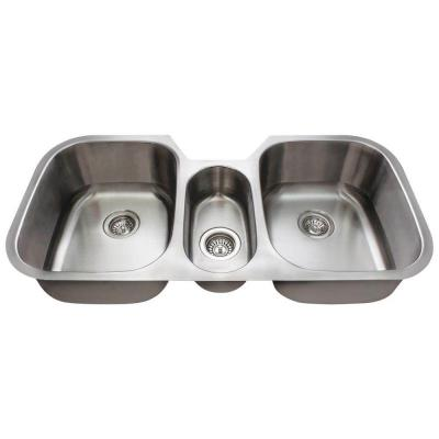 Polaris Sinks Undermount Stainless Steel 43 in. Triple Basin Kitchen Sink