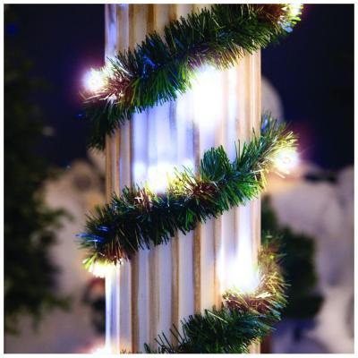 18 ft. Lighted Pine Garland with Warm White 35-Light Micro Mini