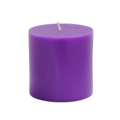 Zest Candle 3 in. x 3 in. Purple Pillar Candles Bulk (12-Case)