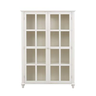 Home Decorators Collection Shutter 4 Shelf Glass Door Bookcase In Polar White 1273300560 The