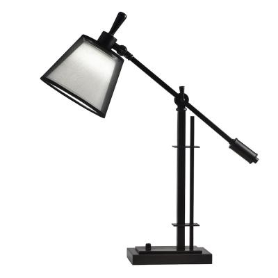 Springdale Lighting Blendon 26.5 in. Oil Rubbed Bronze Desk Lamp with Fabric Shade