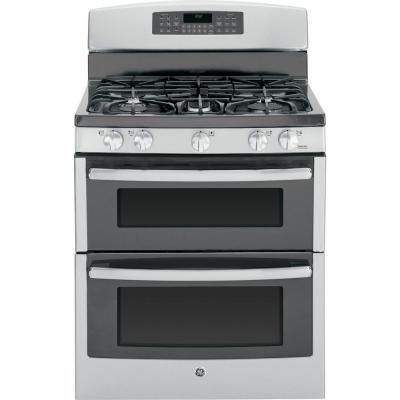 GE 6.8 cu. ft. Double Oven Gas Range with Self-Cleaning Oven in Stainless Steel