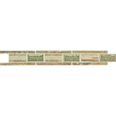 Daltile Stone Decorative Accents Linear Fantasy 1-5/8 in. x 12 in. Travertine with Crackled Glass Accent Wall Tile