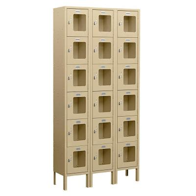 Salsbury Industries S-66000 Series 36 in. W x 78 in. H x 15 in. D 6-Tier Box Style See-Through Metal Locker Unassembled in Tan
