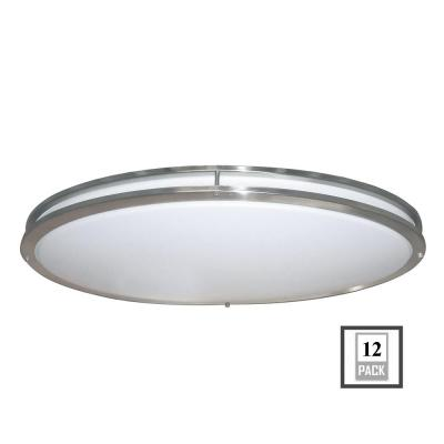 Low Profile LED 32 in. Brushed Nickel/White Ceiling Flushmount (12-Pack) Product Photo
