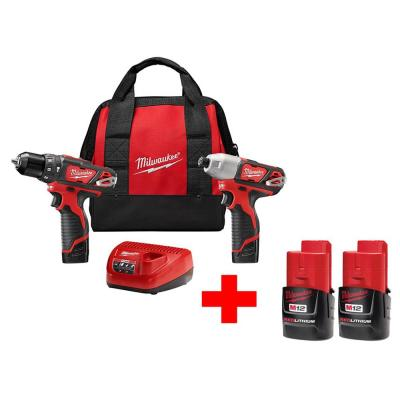 Milwaukee M12 12-Volt Lithium-Ion Cordless Hammer Drill/Impact Driver Combo Kit with Free M12 Compact Battery (2-Pack)