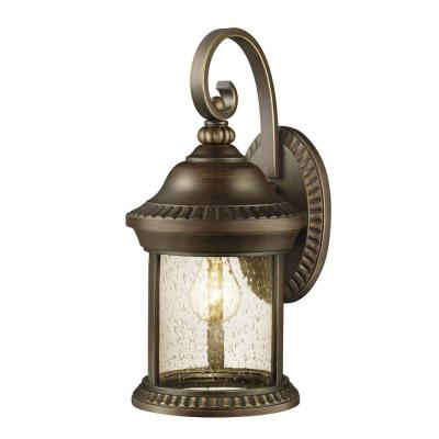 Hampton Bay Cambridge Collection 1-Light Outdoor Essex Bronze Large Wall Lantern