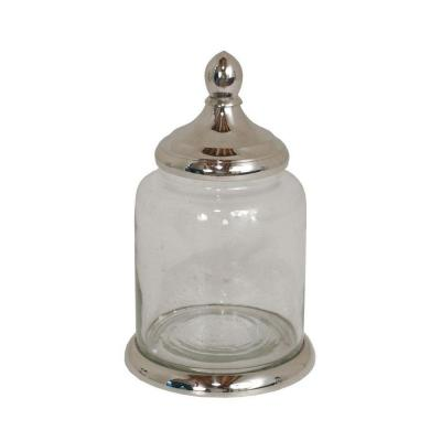Home Decorators Collection 9 in. Colette Nickel Glass Jar