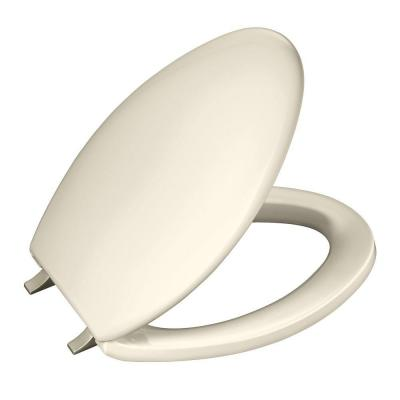 Bancroft Elongated Toilet Seat with Vibrant Brushed Nickel Hinge in Almond