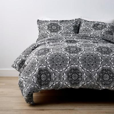 Ebony Medallion Geometric Linen Duvet Cover