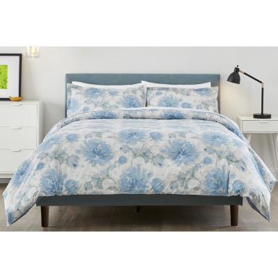 Corinne 3-Piece Washed Denim Watercolor Comforter Set
