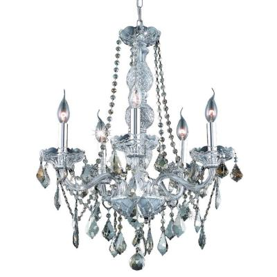 5-Light Chrome Chandelier with Golden Teak Smoky Crystal