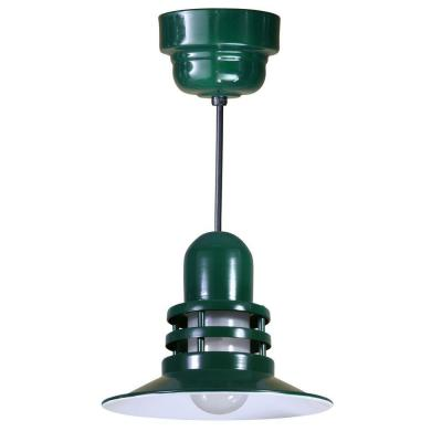 Illumine 1-Light Outdoor Hanging Green Orbitor Shade Pendant with Frosted Glass
