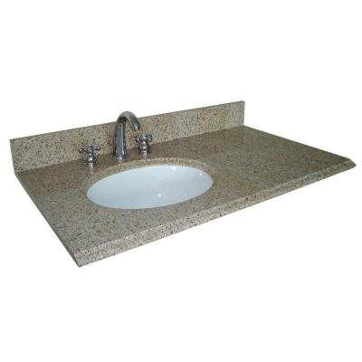 37 in. W Granite Vanity Top with Offset Left Bowl and 8 in. Faucet Spread in Beige