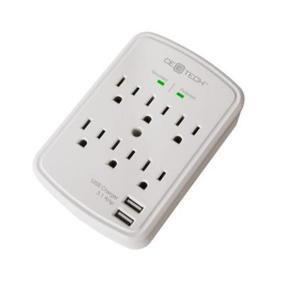 6-Outlet USB Wall Tap Surge Protector Product Photo