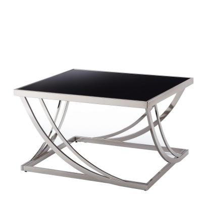 Melrose Glass and Chrome Contemporary Coffee Table Product Photo