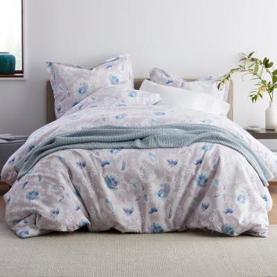 Dana Floral Garment Wash 200-Thread Count Organic Cotton Percale Duvet Cover Set